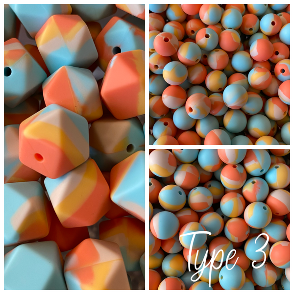 Watercolor- {TYPE 3} Silicone 12/14/15mm Teething Beads, 100% Food Grade, BPA Free, Sensory Beads, Loose Beads *Choose Size