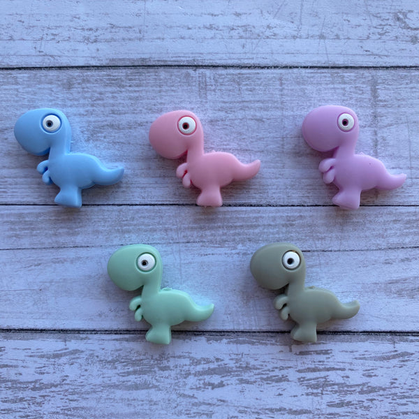 X10- Dinosaur Silicone Focal Bead BPA Free Teething/Sensory Pendant Teether *Choose Color