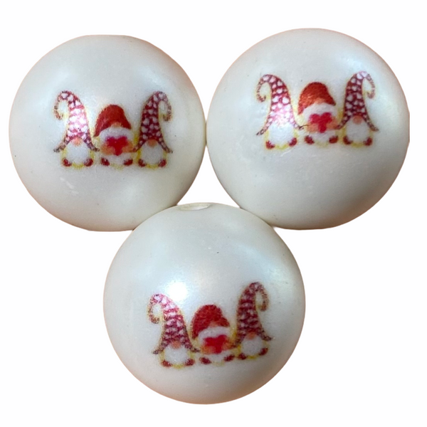 "20mm ""Valentine's Day Gnomes"" Printed Matte White Beads"