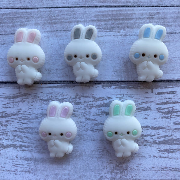 X9- Bunny Silicone Focal Bead BPA Free Teething/Sensory Pendant Teether *Choose Color