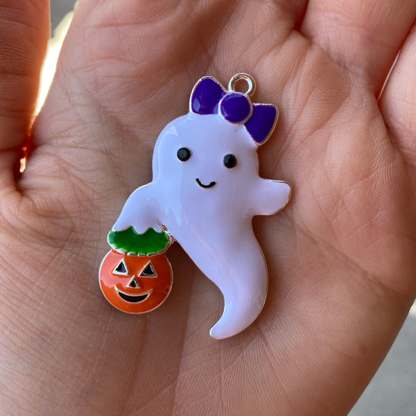 P87 Ghost Jack O Lantern Chunky Bubblegum Bead Necklace Pendant Focal Piece