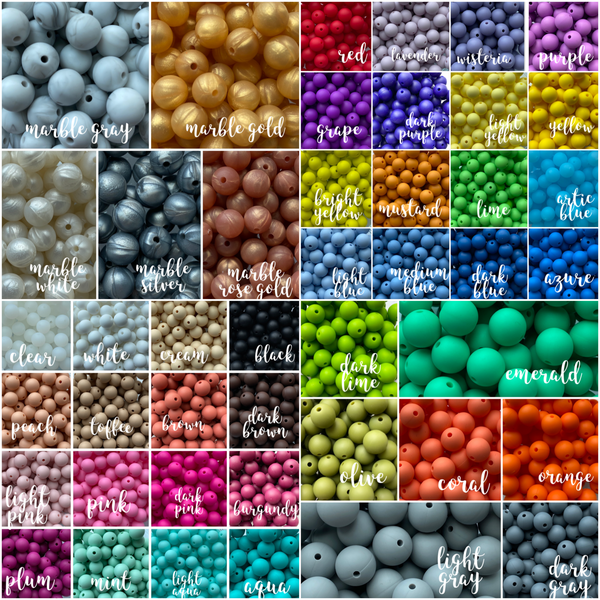 "12mm ""Round"" Silicone Teething Beads, 100% Food Grade Silicone, BPA Free, Sensory Beads, Loose Beads *Choose Color/Quantity"