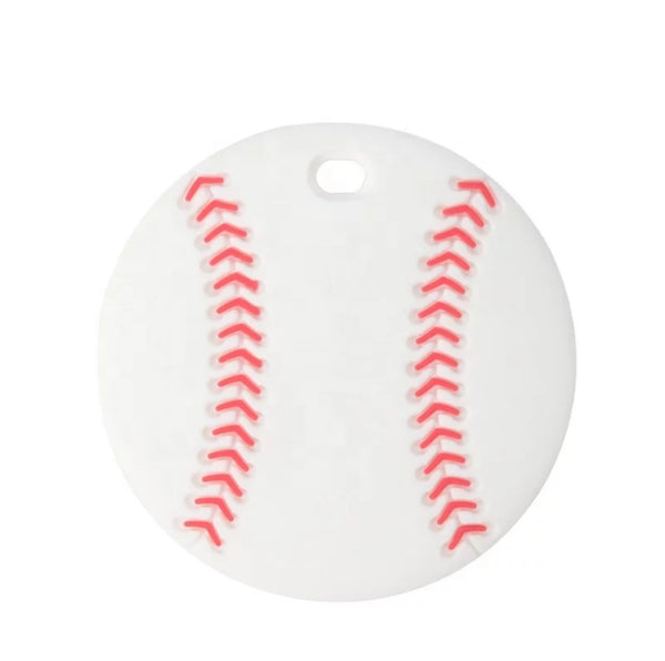 SP232 Baseball Silicone Teething Ring  BPA Free Teething/Sensory Pendant Teether