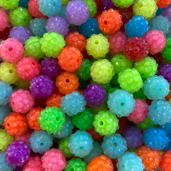 12mm Neon Rhinestones Chunky Bubble Gum Mixed Wholesale Bulk Bag 100 OR 400 Count