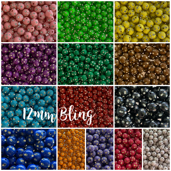 12mm Bling Beads Chunky Bubble Gum Acrylic  Beads *Choose Color