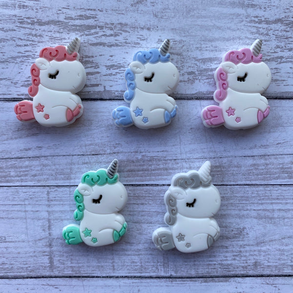 X17- Unicorns Silicone Focal Bead BPA Free Teething/Sensory Pendant Teether *Choose Color