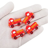 X54- Firetruck Silicone Focal Bead BPA Free Teething/Sensory Pendant Teether