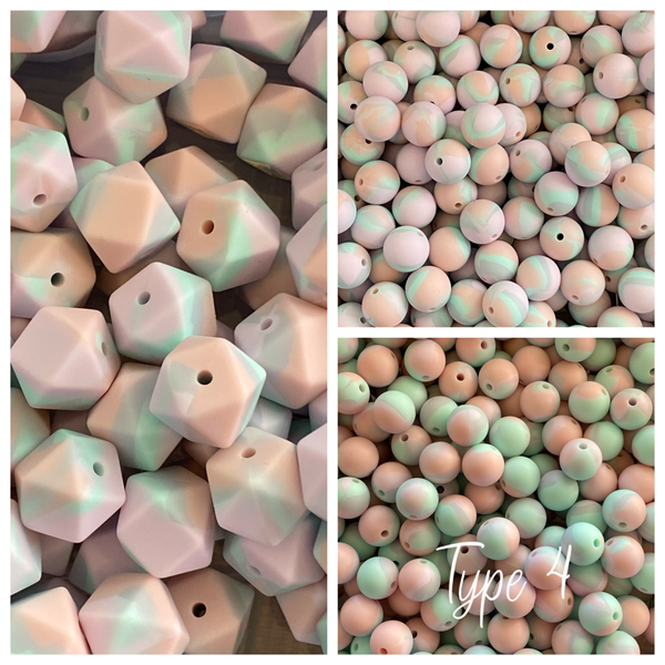 Watercolor- TYPE 4 Silicone 12/14/15mm Teething Beads, 100% Food Grade, BPA Free, Sensory Beads, Loose Beads *Choose Size