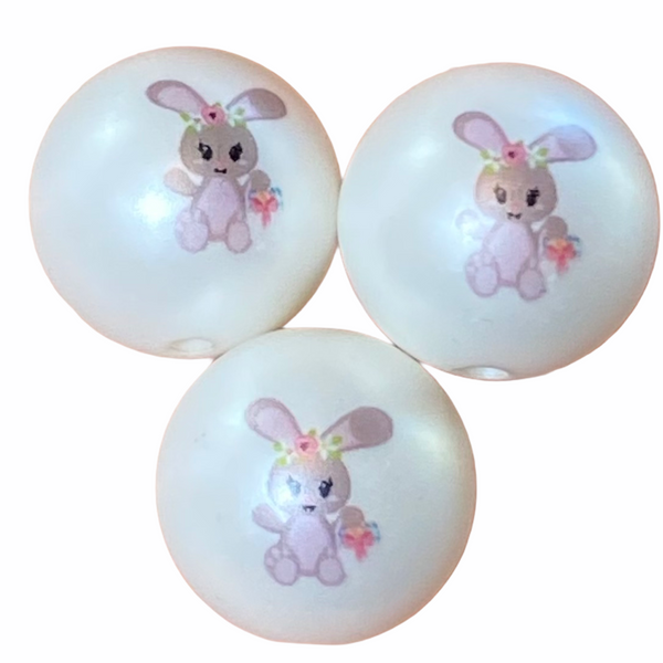 "12/20mm ""Easter Bunny"" Printed Matte White Beads"