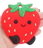 (SP36) Strawberry Silicone BPA Free Teething/Sensory Pendant *Choose Color