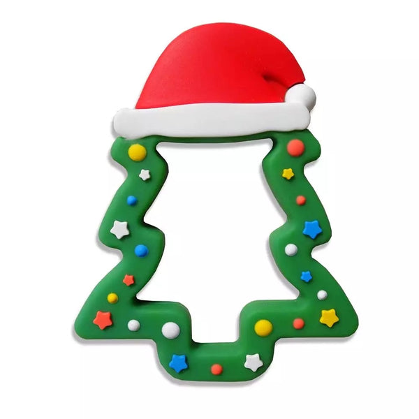 SP237 Christmas Tree With Santa Hat Silicone Teething Ring  BPA Free Teething/Sensory Pendant Teether