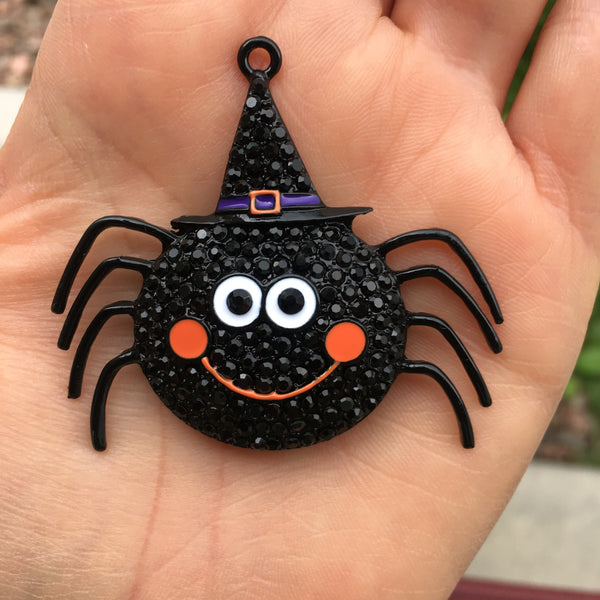 H33 Happy Spider (55mm x 48mm) Rhinestone Halloween Chunky Bubblegum Bead Necklace Pendant Focal Piece