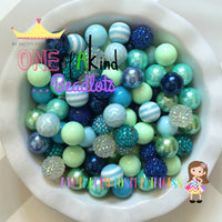 Royal Blue, Wintergreen, Mint Green, & Light Blue Themed Chunky Bubble Gum Bead Lot *Read Entire Product Description Before Purchase