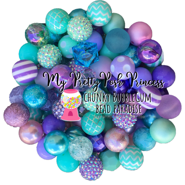 Lavender & Mint (Lavender, Wintergreen, Turquoise) Themed Chunky Bubble Gum Bead Lot