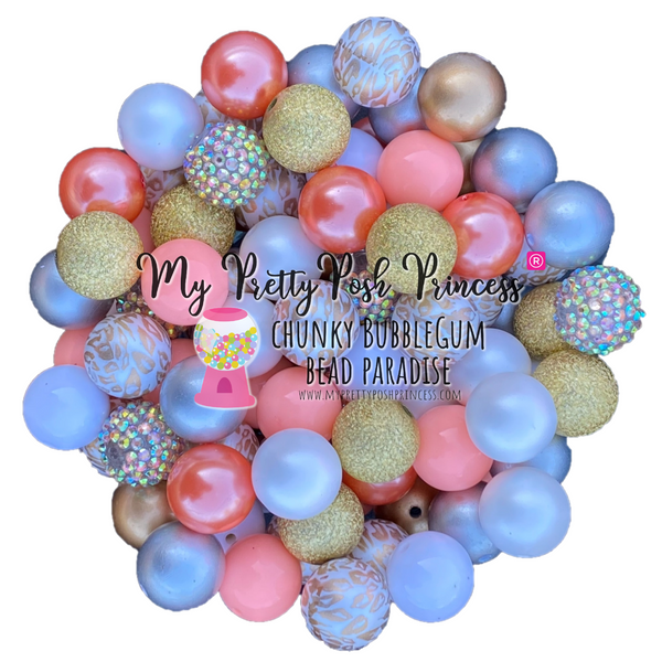 Peachy Leopard Chunky Bubble Gum Bead Themed Bead Lot **Read Item description before purchase!
