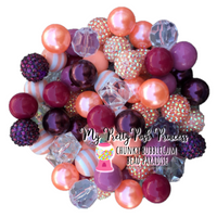 """Smokey Plum & Ice"" Chunky Bubble Gum Bead Themed Bead Lot **Read Item description before purchase!"
