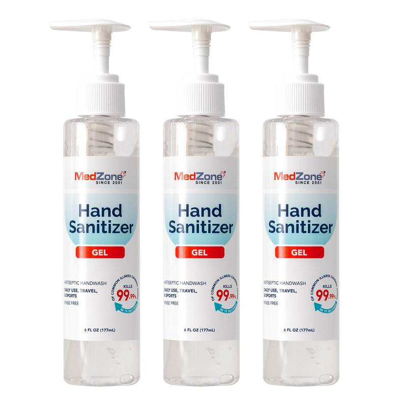 MedZone Hand Sanitizer Gel - 6 oz (3 Pack) - MedZone - Because EveryBODY Hurts -Hand Sanitizers, Prevent Blisters, Chafing, Face Mask Irritation