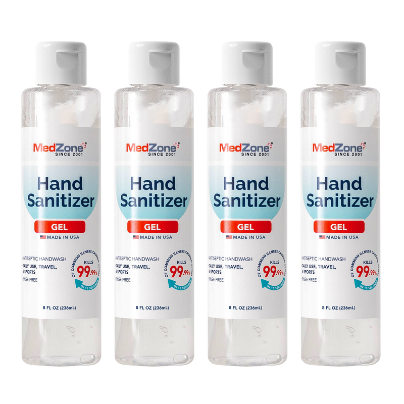 Hand Sanitizer Gel by MedZone - 8 oz Flip Cap (4 Pack) - MedZone