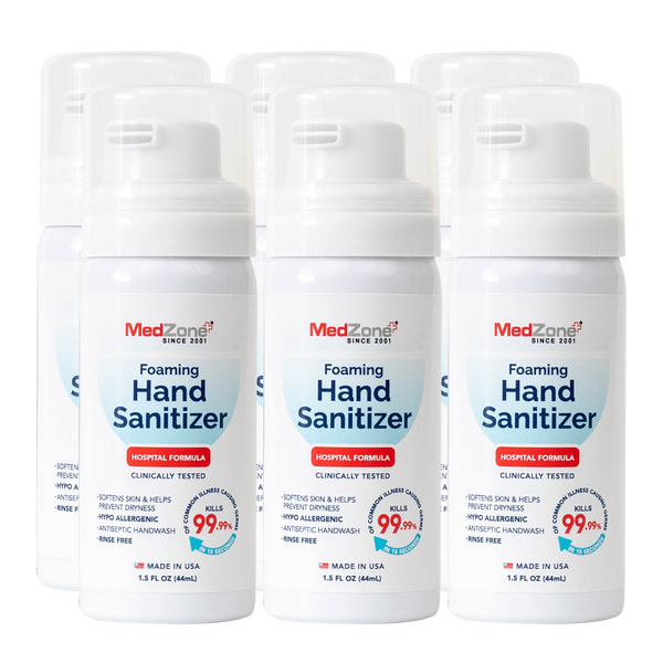 NEW! MedZone Foaming Hand Sanitizer - 1.5 oz (6 Pack) - MedZone - Because EveryBODY Hurts -Hand Sanitizers, Prevent Blisters, Chafing, Face Mask Irritation