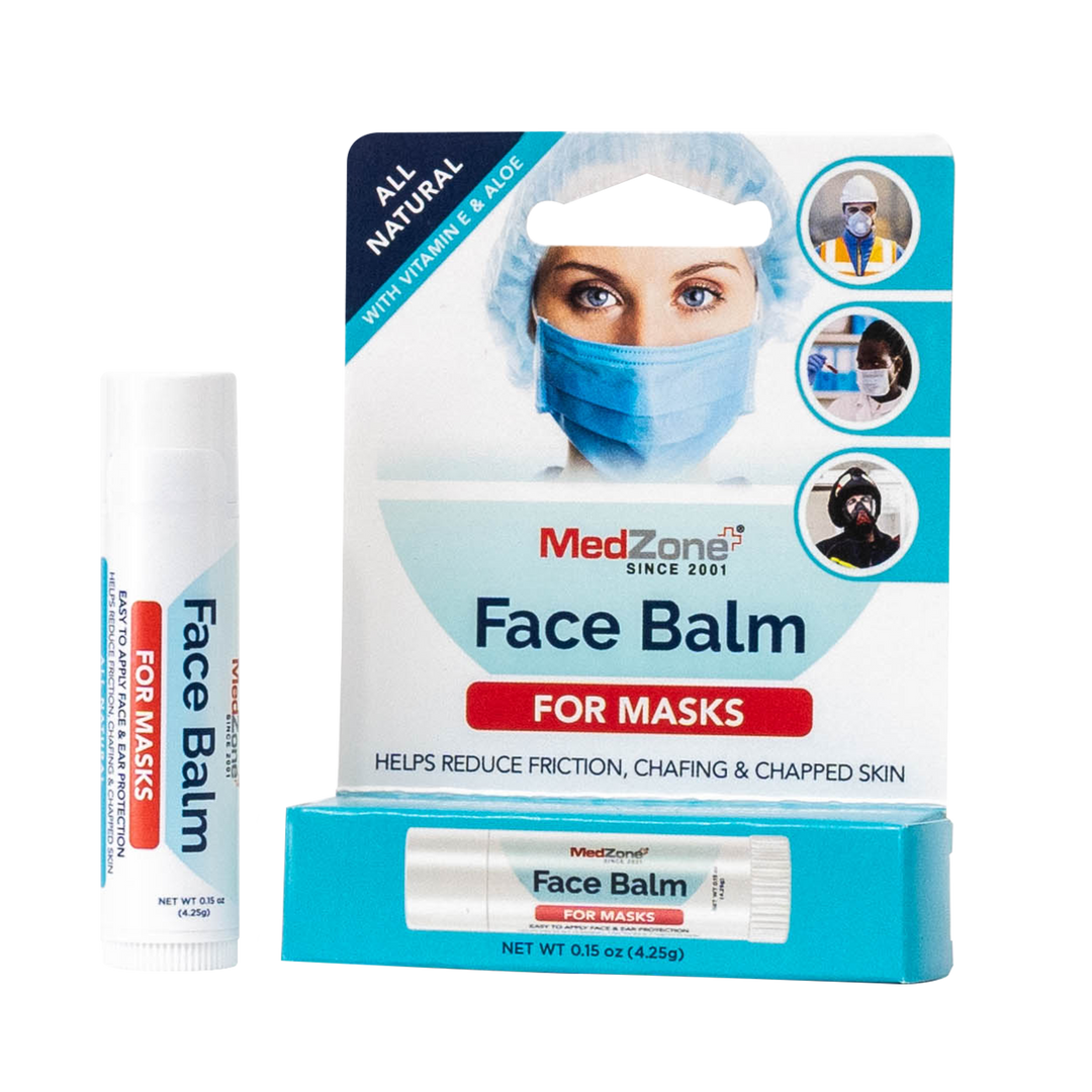 Face Balm For Masks (3 Pack) - MedZone - Because EveryBODY Hurts -Hand Sanitizers, Prevent Blisters, Chafing, Face Mask Irritation