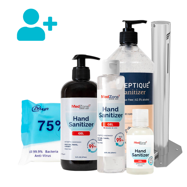Large Business Bundle (76-125 employees) - MedZone - Because EveryBODY Hurts -Hand Sanitizers, Prevent Blisters, Chafing, Face Mask Irritation