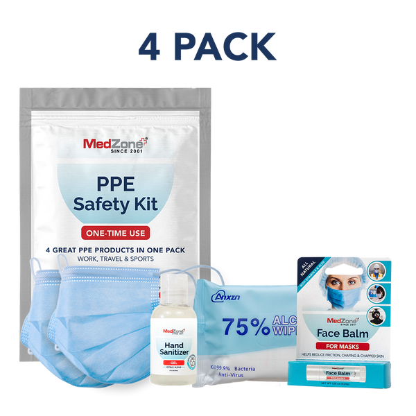 PPE Travel Kit - Individual Bundle (4 Pack) - MedZone - Because EveryBODY Hurts -Hand Sanitizers, Prevent Blisters, Chafing, Face Mask Irritation