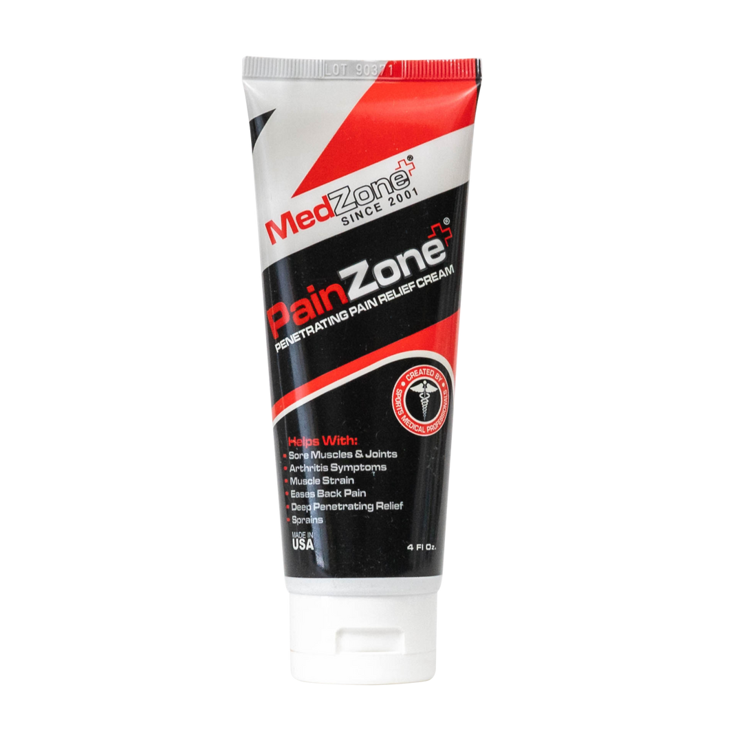 PainZone Cream 4oz Tube for Back Pain, Sore Muscles and Aches - MedZone - Because EveryBODY Hurts -Hand Sanitizers, Prevent Blisters, Chafing, Face Mask Irritation