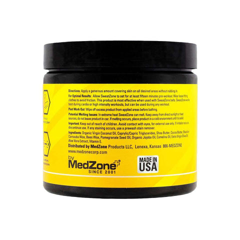 SweatZone Workout Enhancer - All Natural with Organic Ingredients - MedZone - Because EveryBODY Hurts -Prevent Blisters, Chafing & Help w/ Pain Relief