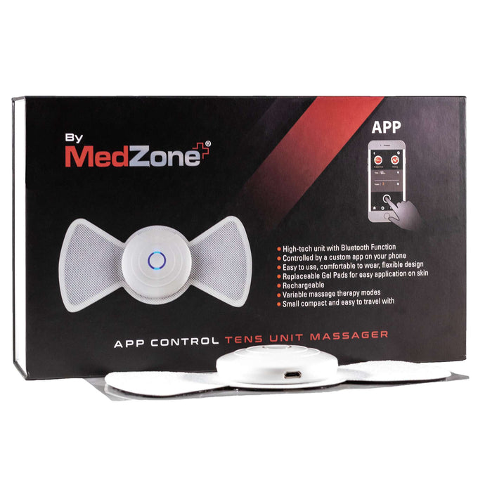 Wireless Bluetooth TENS Unit Massager & Muscle Stimulator - MedZone - Because EveryBODY Hurts -Hand Sanitizers, Prevent Blisters, Chafing, Face Mask Irritation