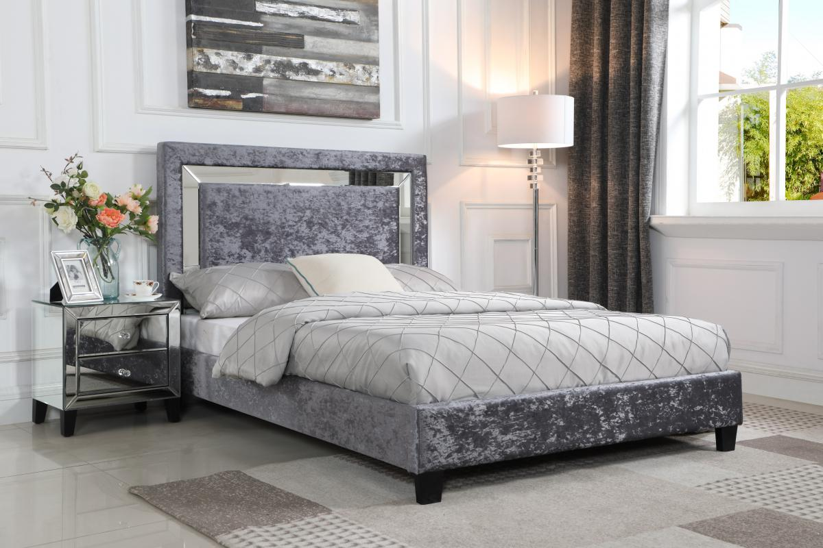 Augustina Crushed Velvet Double Bed Silver with Mirror