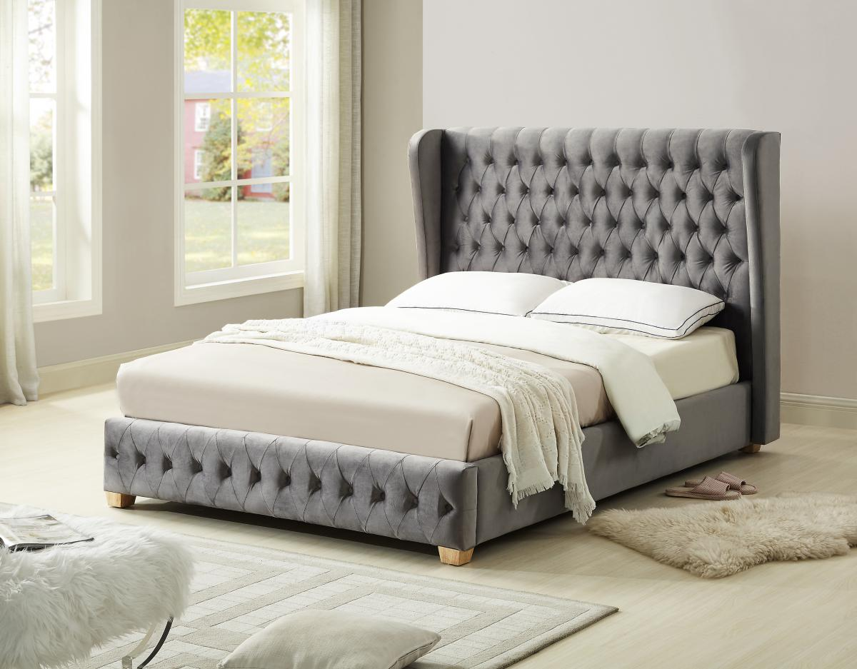 Anderton Velvet Double Bed Silver