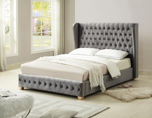 Anderton Velvet King Size Bed Silver