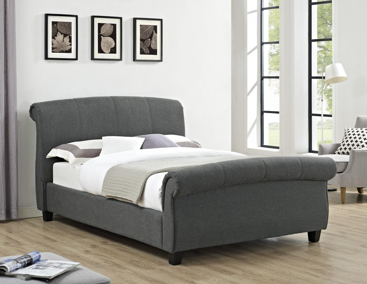 Arabella Linen Fabric King Size Bed Grey