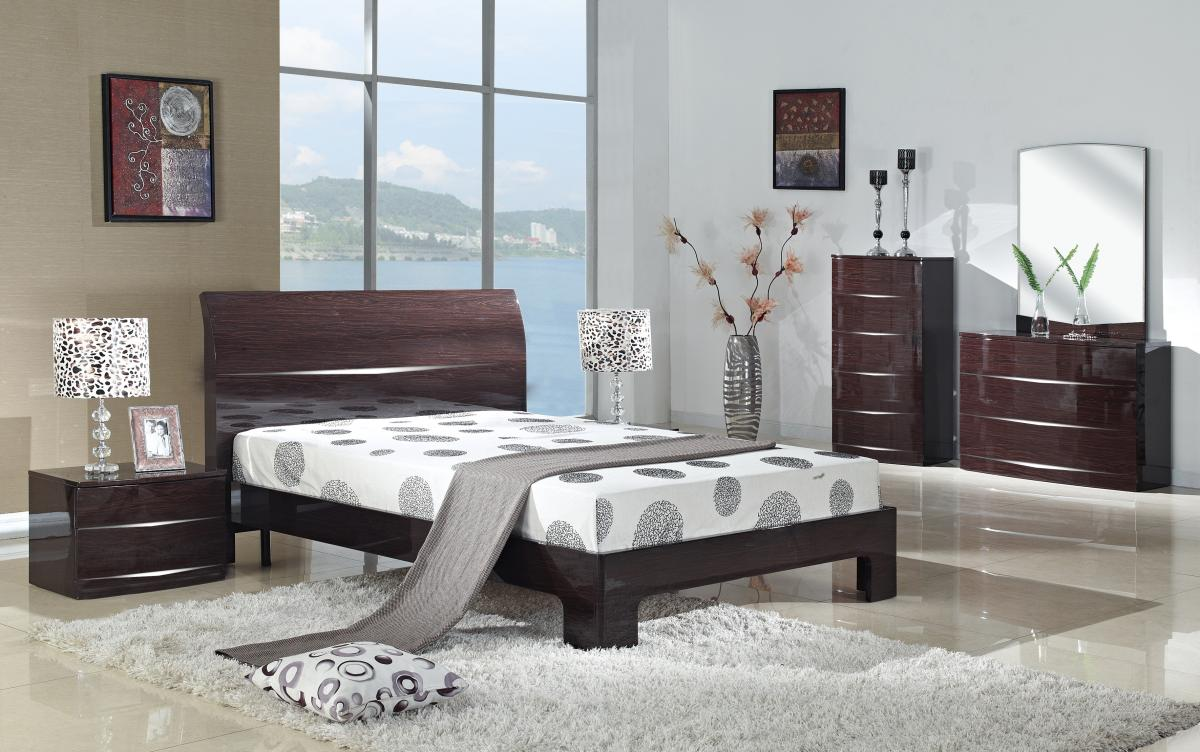 Arden Cherry High Gloss Bed King Size