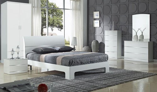 Arden White High Gloss Bed Double