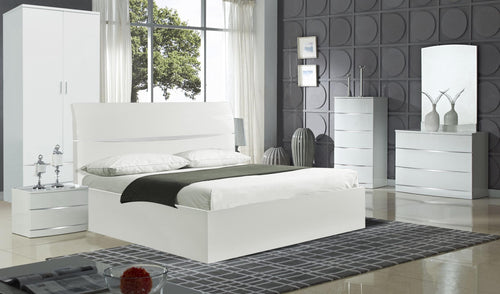 Arden/Widney White High Gloss Bedside