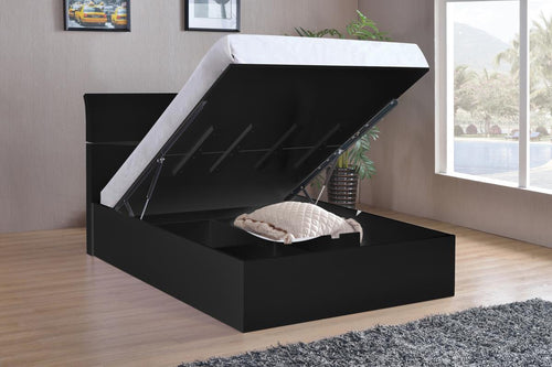 Arden Black High Gloss Storage Bed Double
