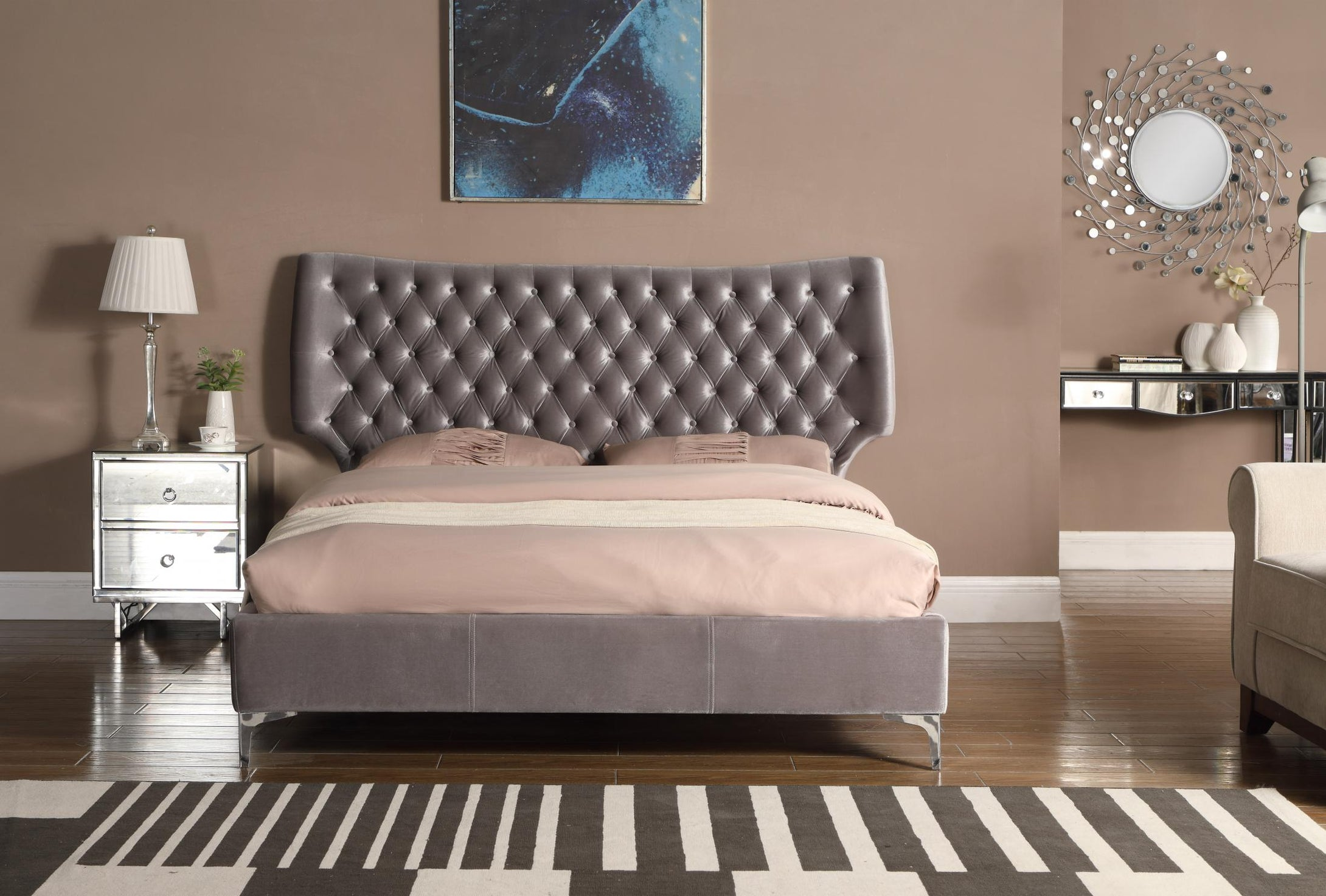Ashbourne Velvet King Size Bed Grey