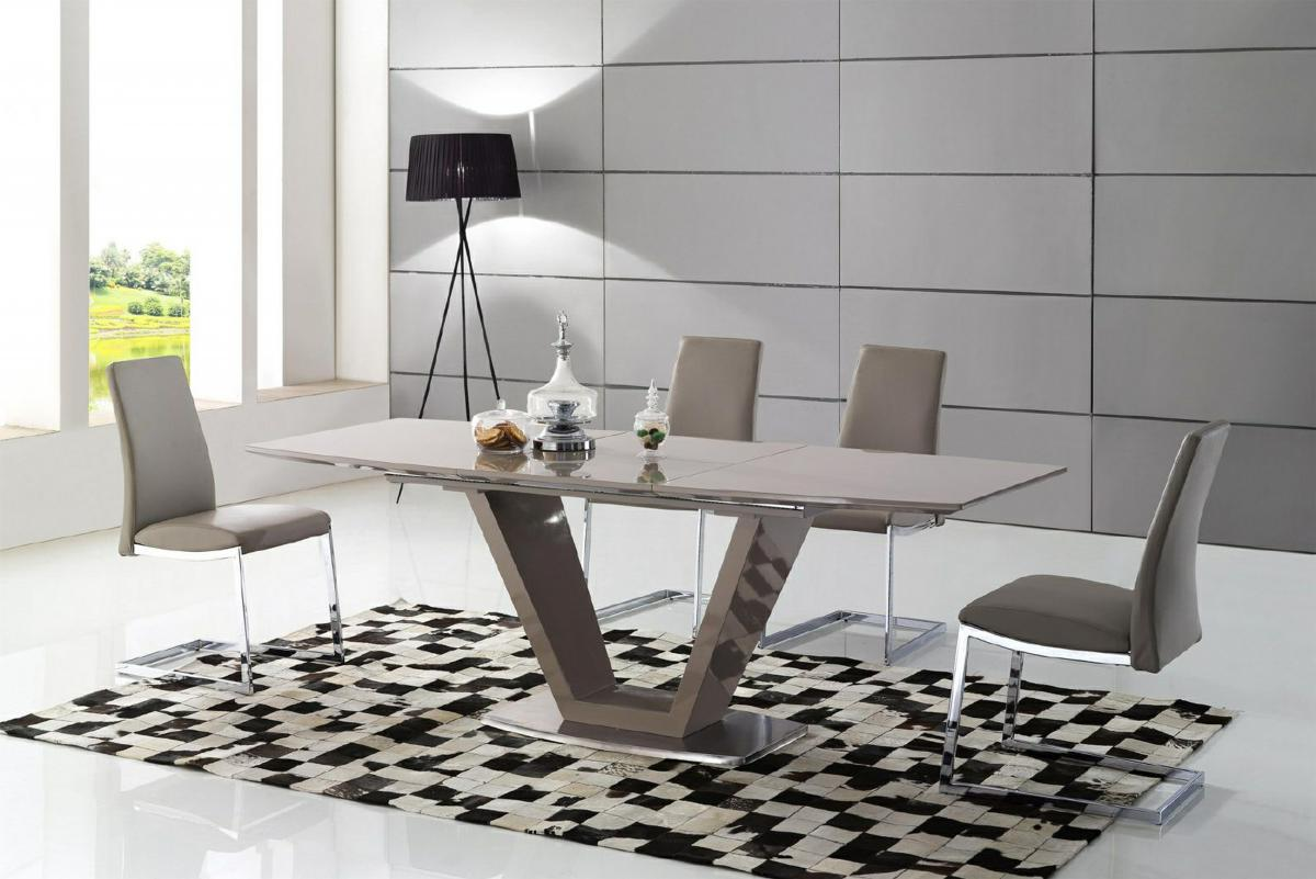 Azore Extending Dining Table High Gloss Cappuccino 6 Chairs