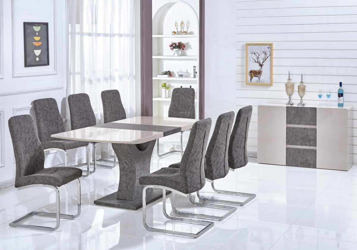 Belarus High Gloss Ext Dining Table Cream & Stone