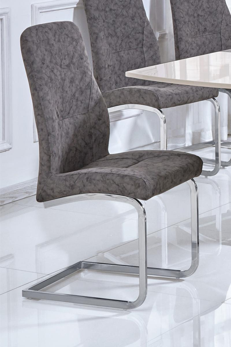 Belarus Patterned PU Chairs Chrome & Grey (2s)