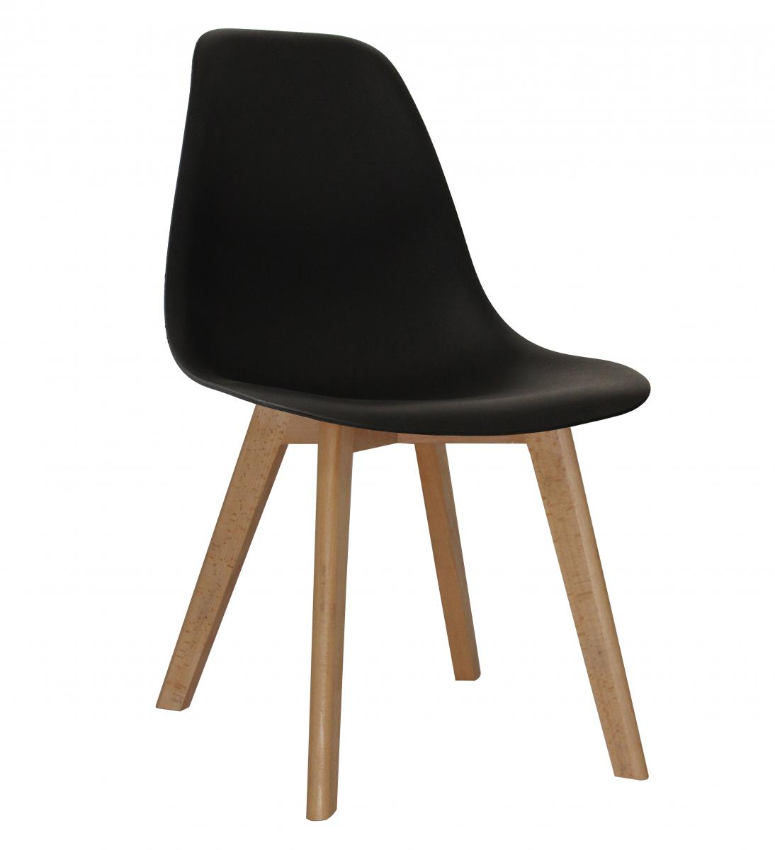 Belgium Plastic (PP) Chairs with Solid Beech Legs Black