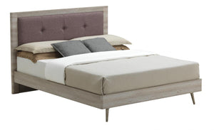 Belvoir Double Bed Grey Oak & Mocca Fabric