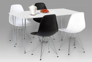 Bianca Dining Table White High Gloss with Steel Chrome Legs