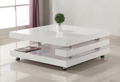 Borneo High Gloss Coffee Table White & Stainless Steel