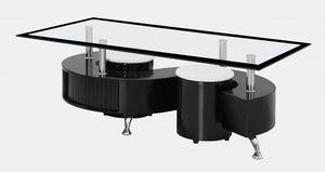 Boule Black High Gloss Coffee Table with Black Border Glass