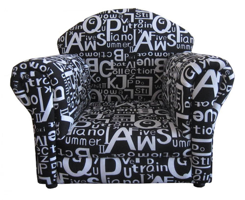 Brady Kids Sofa Fabric Black with White Letters