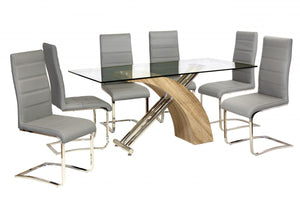 Chiswell Dining Table Chrome & Natural