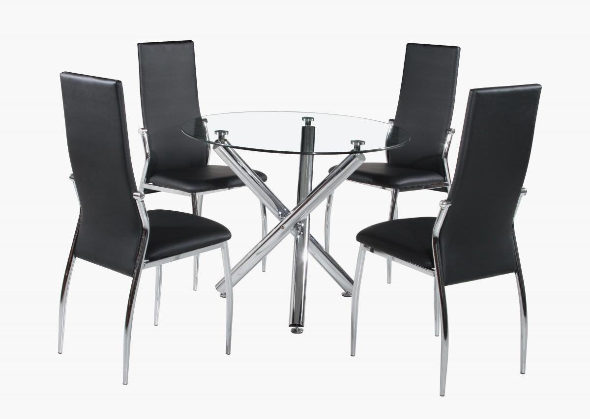 Calder Dining Set Chrome & Clear Glass 4 Chairs