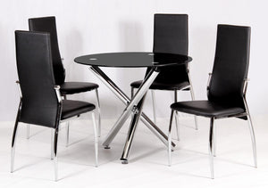 Calder Dining Set Chrome & Black Glass 4 Chairs